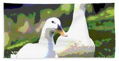 Hand Towel featuring the mixed media White Ducks by Charles Shoup