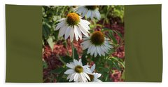 White Echinacea Bath Towel by Suzanne Gaff