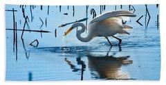 White Egret At Horicon Marsh Wisconsin Hand Towel