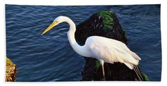 White Egret At Sunrise - Barnegat Bay Nj  Hand Towel