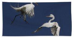 White Egret Ballet Hand Towel