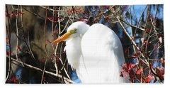 White Egret Bird Bath Towel