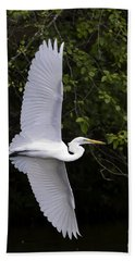 Bath Towel featuring the photograph White Egret In Flight-signed-#0716 by J L Woody Wooden