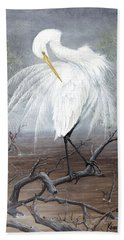 White Egret Bath Towel