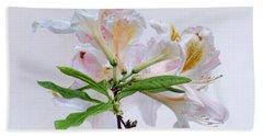 White Exbury Azalea Blooms Bath Towel by Louise Kumpf