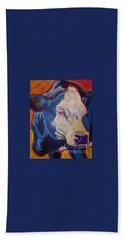 White Face Cow Bath Towel by Jenn Cunningham