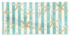 White Finger Starfish Watercolor Stripe Pattern Hand Towel