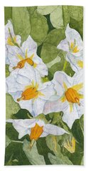 White Garden Blossoms Watercolor On Masa Paper Hand Towel