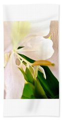 White Ginger Close Up Abstract Bath Towel