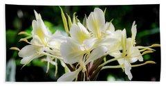 White Hawaiian Flowers Hand Towel