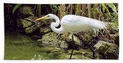 White Heron Hand Towel by Cindy Lee Longhini