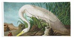 White Heron Hand Towel