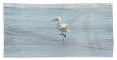 White Heron On The Beach Bath Towel