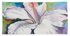 White Hibiscus Waimeae Bath Towel