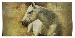 White Horse Art Hand Towel