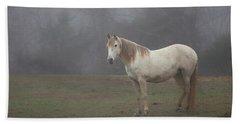 White Horse In Fog Hand Towel