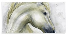 White Horse Watercolor Hand Towel