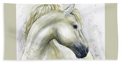 White Horse Watercolor Bath Towel