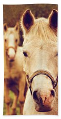 Hand Towel featuring the photograph White Horses by Peggy Collins
