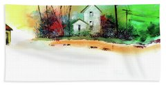 Bath Towel featuring the painting White Houses by Anil Nene