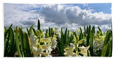 White Hyacinth Field Hand Towel by Mihaela Pater