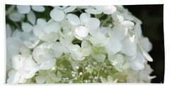 White Hydrangea I Bath Towel by Mary Haber