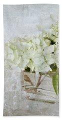 White Hydrangea Hand Towel