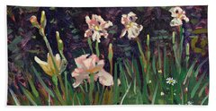 White Irises Hand Towel by Donald Maier
