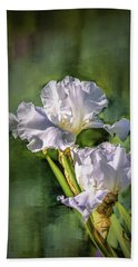 White Iris On Abstract Background #g4 Hand Towel