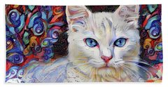 White Kitten With Blue Eyes Hand Towel