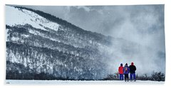 White Landscape In The Frozen Paradise In The Argentine Patagonia Hand Towel