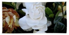 White Large Gardenia Hand Towel