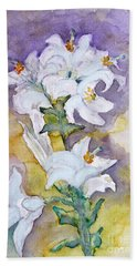 White Lilies Hand Towel by Jasna Dragun
