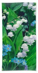 White Lilies Of The Valley Bath Towel by Sergey Lukashin