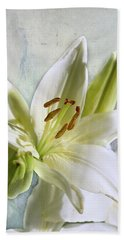 White Lilies On Blue Hand Towel by Jacqi Elmslie