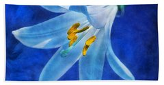 White Lilly Bath Towel by Ian Mitchell