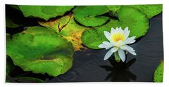 White Lily And Rippled Water Hand Towel