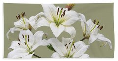 White Lilies Illustration Hand Towel