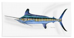 White Marlin Hand Towel by Carey Chen