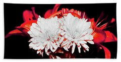 White Mums And Red Lilies Hand Towel