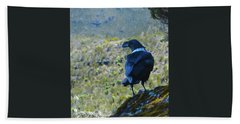 White-necked Raven Cliff-side Bath Towel by Jeff at JSJ Photography