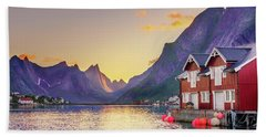 Bath Towel featuring the photograph White Night In Reine by Dmytro Korol