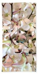 White Orchid Cluster Hand Towel