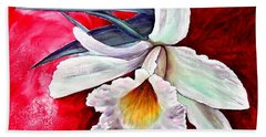 Hand Towel featuring the painting White Orchid by Ryn Shell