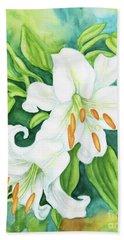 White Oriental Lilies Bath Towel