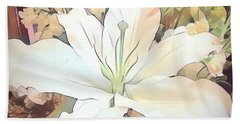 White Painted Lily Bath Towel