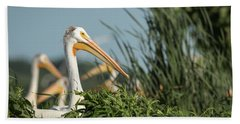 Bath Towel featuring the photograph White Pelican 7-2015 by Thomas Young