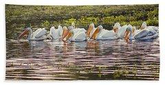 White Pelican Parade Hand Towel