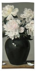White Peonies In Green Chinese Vase Hand Towel
