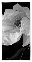 White Peony After The Rain In Black And White Hand Towel by Gill Billington